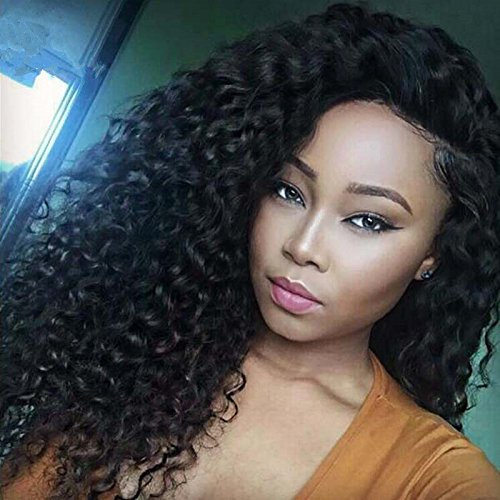 Amazon.com   Royal-First Glueless Kinky Curly Lace Front Wig Brazilian  Virgin Human Hair Wigs for Women 150% Density 20inch Long 1b  Color   Beauty f6a0a417ecd8
