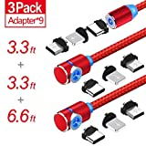 Magnetic Phone Charger Cable, 3 in 1 Cable, (3 Pack,3.3 ft Straight Cable, 3.3 ft L Shape Cable,6.6 ft L Shape Cable) (Red)