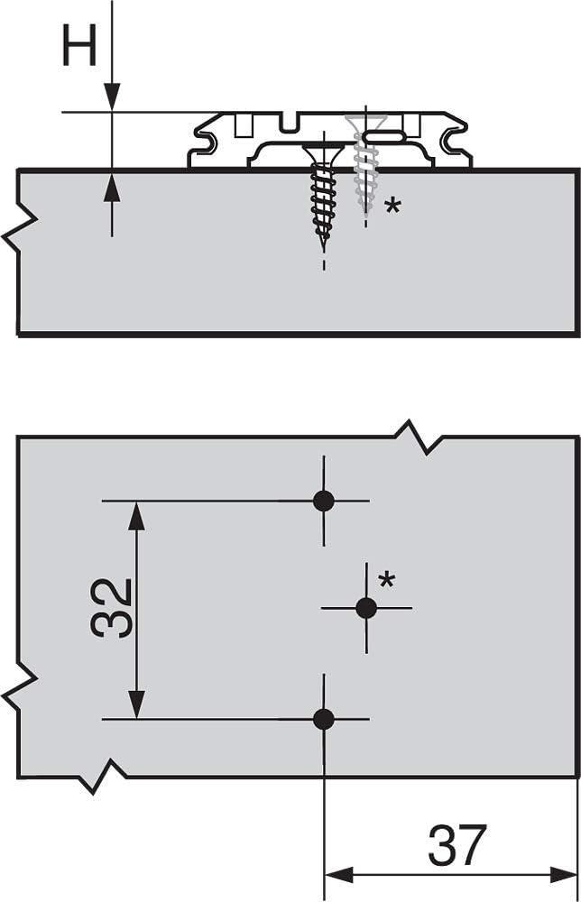Blum R/éf..173H7100 Distance mm.0 Plaque de montage ou embase de charniere de meuble en croix reglable par excentrique-embase de charniere de meuble en croix reglable par excentrique