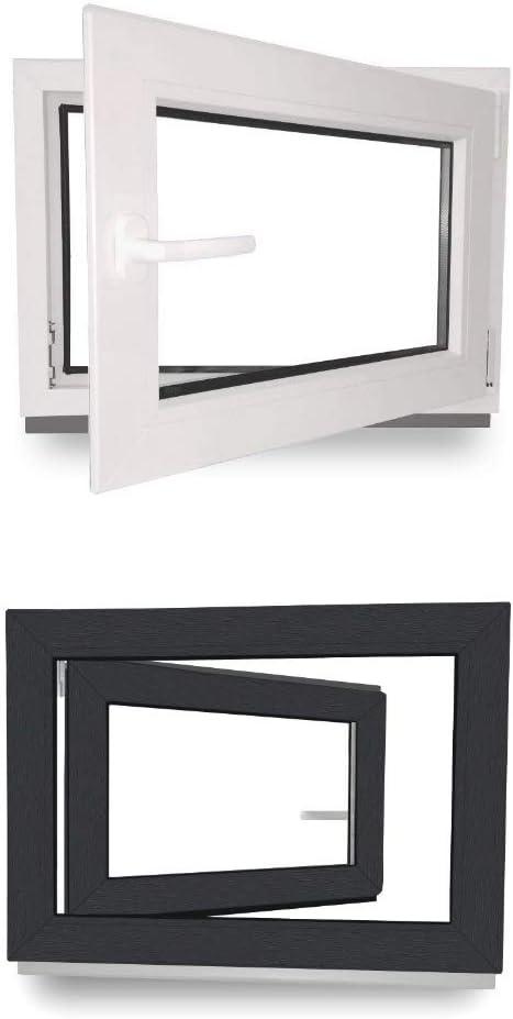DIN Links Kellerfenster 2 fach Verglasung Fenster 60 mm Profil Dreh- /& Kippfunktion BxH: 90 x 50 cm innen anthrazit//au/ßen anthrazit 900 x 500 mm