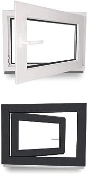 2 fach Verglasung Kellerfenster innen wei/ß//au/ßen wei/ß Dreh- /& Kippfunktion BxH: 80 x 70 cm Fenster DIN Links 800 x 700 mm 60 mm Profil