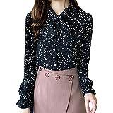 Apt 9 Womens Shirts, Causual Summer Tops for Women,Fashion Women Chiffon Flare Sleeve Bow Bandage Print Loose Casual Top Blouse Black