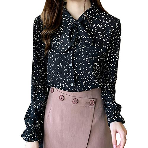 Apt 9 Womens Shirts, Causual Summer Tops for Women,Fashion Women Chiffon Flare Sleeve Bow Bandage Print Loose Casual Top Blouse Black by Makeupstory (Image #2)
