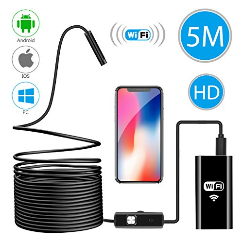 Wireless Endoscope, WiFi Borescope Inspection Camera 2.0 Megapixels HD Waterproof Snake Camera Pipe Drain with 8 Adjustable Led for Android & iOS Smartphone iPhone Samsung Tablet-16.4 ft (5M) (Air Vent Spy Cam)