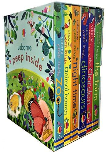 Usborne Peep Inside Collection 6 Books Box Set (Peep Inside the Garden, Peep Inside the Zoo, Peep Inside Dinosaurs, Peep Inside Animal Homes, Peep Inside Night-Time, Peep Inside the Farm)