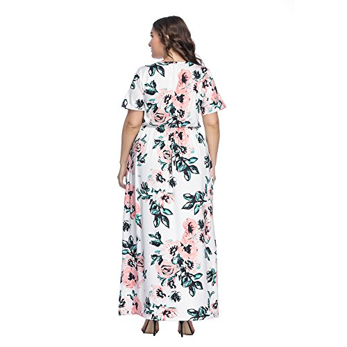 White Dress Pockets Print DANALA Plus Maxi Size Sleeve Floral Dress Party Short with Op7Bfpqw