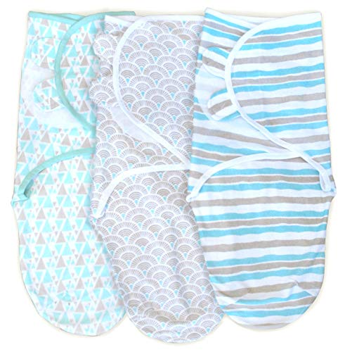 3 Pack Organic Cotton Adjustable Infant Swaddle Wrap for Safe and Sound Sleep, Self Fastening, Ages 0-3 Months Aqua/Gray