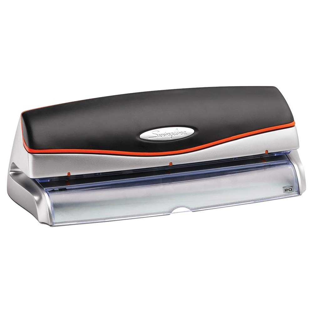 Swingline Electric 3 Hole Punch, Hole Puncher, Optima 20, 20 Sheet Punch Capacity, Silver (74520)