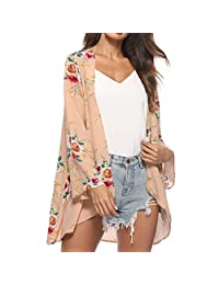 SWPS Women Kimono Cardigan Capes Floral Cover Casual Blouse Tops Loose Clearance