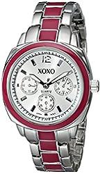 XOXO Women's XO111 Silver Dial Silver-tone and Pink Enamel Bracelet Watch