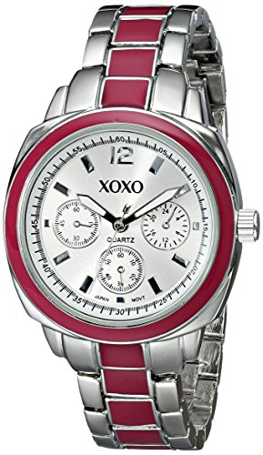 XOXO Women's XO111 Silver Dial Silver-tone and Pink Enamel Bracelet Watch - Enamel Dial Watch