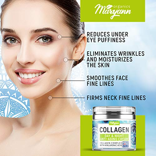 51T9GlCyf0L - MARYANN Organics Collagen Cream - Anti Aging Face Moisturizer - Day & Night - Made in USA - Natural Formula with Hyaluronic Acid & Vitamin C - Firming Cream to Smooth Wrinkles & Fine Lines - 1.7OZ