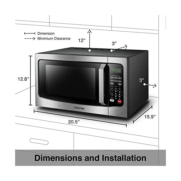 Toshiba EM131A5C-SS Microwave Oven with Smart Sensor, Easy Clean Interior, ECO Mode and Sound On/Off, 1.2 Cu Ft… 5