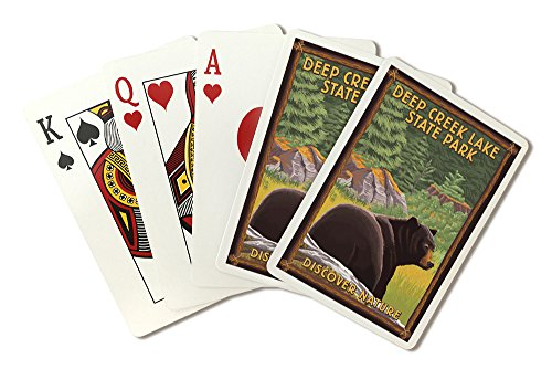 Deep Creek Lake State Park, Maryland - Bear in Forest (Playing Card Deck - 52 Card Poker Size with Jokers) by Lantern Press
