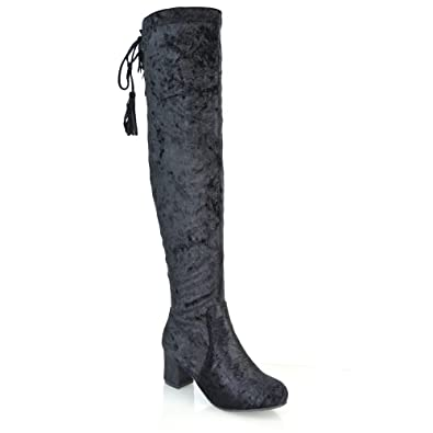 9a5a6568227 ESSEX GLAM Womens Over The Knee High Low Heel Black Velvet Thigh High Boots  5 B