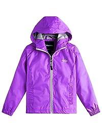 Wantdo Girl's Lightweight Packable Rain Coat Hooded Waterproof Casual Jacket