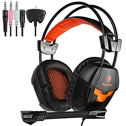 Sades 921S 3.5mm plug Over Ear Wired Stereo Headset Gaming Earphone Bass Noise Canceling Isolating Headphones with Mic for PC Gamer Tablet Laptops Mobile Phone MP3 (Phone Mp4)