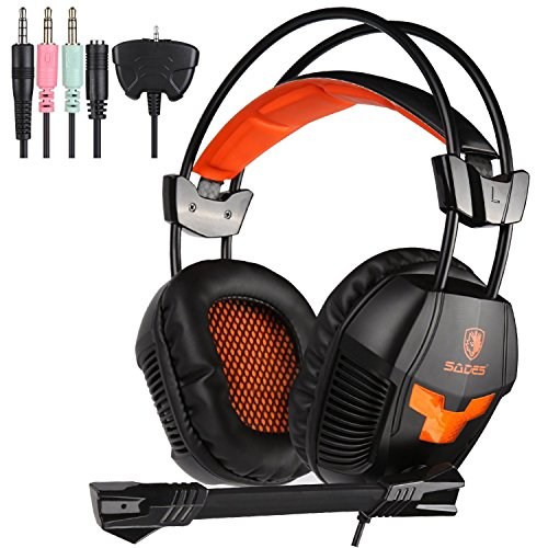 - Sades SA921 Lightweight 3.5mm Jack Over Ear Stereo Gaming Headset with Mic and Splitter Adapter for Laptop/PC / MAC / PS4 / Xbox One/Phones (Black/Orange)