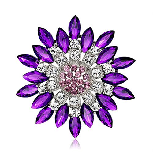 Dark Purple Rhinestone (Sanwood Women Fashion Flower Brooch Crystal Rhinestone wedding broach Jewelry Gift (Dark Purple))