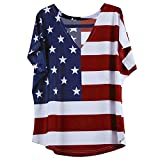 red and white shirt - Poptem American Flag Pattern Round Neck Short Sleeve T-Shirt Stars Stripes Cold Shoulder Tops Red,White and Blue Blouse Tee