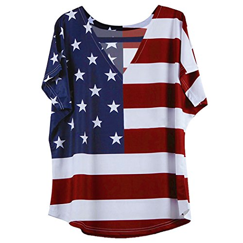 Poptem American Flag Pattern V-Neck Short Sleeve T-Shirt Stars Stripes Tops Red,White and Blue Blouse (Blue White Pattern)