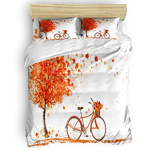 Arts Language Home Duvet Cover Set King Size for Kids/Adults/Teens Hand Drawn Maple Tree Bicycle Pattern Soft 4 Pcs Bedding Set with Duvet Cover, Fitted Sheet, Pillowcases (King California Headboard Maple)