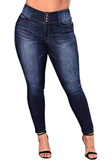 bb3a8406c6724 Women s High Waist Butt Lift Stretch Pull-On Skinny Jean Slim Denim Jegging