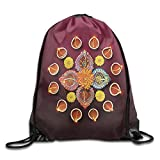 FYW Diwali Festive Celebration Tribal Religious Sacred Flowers Burning Candles Print Drawstring Bags Tour Backpack For Teens College