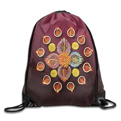 FYW Diwali Festive Celebration Tribal Religious Sacred Flowers Burning Candles Print Drawstring Bags Tour Backpack For Teens College by FYW