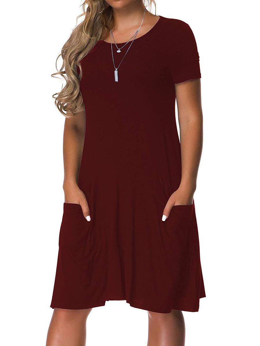 VERABENDI Women's Plus Size Short Sleeve Dress Casual Loose Pocket T-Shirt Dress Burgundy 2XL