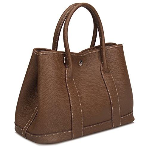 Qidell Women's Genuine Leather Tote Bag Top Handle Handbags (Small, Khaki)