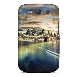 Rugged Skin Case Cover For Galaxy S3- Eco-friendly Packaging(brooklyn Bridge)