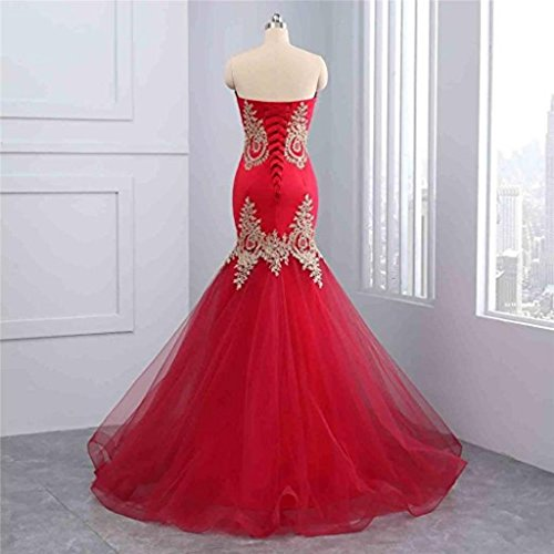 Prom Women Embroidery Long Royal Backless Tulle Dresses With Satin Formal Bridal with for Blue Sleeveless Dress Evening Train LiCheng Mermaid WPav0CC