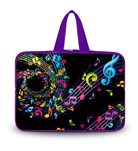 """OHS15-016 New Fashion Arts Design black with colorful music note 14.5"""" 15"""" 15.1"""" 15.2"""" 15.3"""" 15.4"""" 15.5"""" 15.6"""" inch soft Neoprene Laptop Netbook Computer Tablet PC Handle Sleeve bag Case Carrying cover pouch Holder Protection for Apple Macbook Pro / Air Toshiba Satellite Pro A100 HP Pavilion TouchSmart 15 Lenovo ThinkPad W520 Ultrabook Chromebook Dell Inspiron 1545 15 15r XPS 15z Alienware M15x /Sony Vaio E Series/asus/acer Aspire/SAMSUNG"""