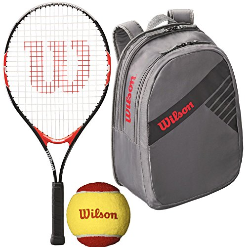 Wilson Roger Federer 21 Inch Pre-Strung Junior Black/Red Tennis Racquet with a Grey Tennis Backpack and a 3-Pack of Red Felt Starter Tennis Balls (Perfect for Kids Ages 5-7) (Junior Player Tennis)
