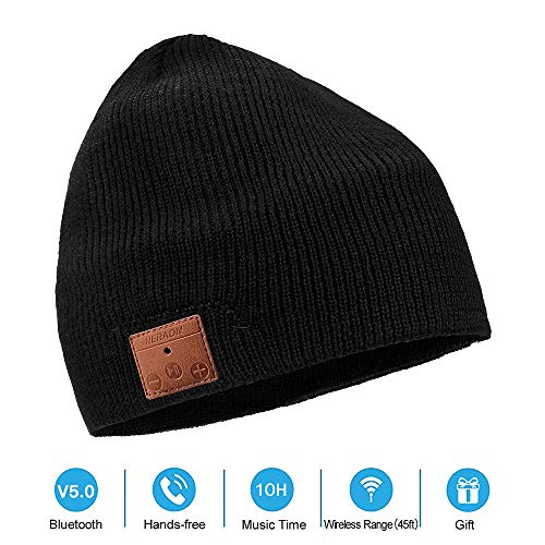 NERAON Newest Bluetooth 5.0 Wireless Bluetooth Beanie with Detachable HD Stereo Speakers & Mic, Bluetooth Headphones Beanie Music Hats for Outdoor Sports(Black)