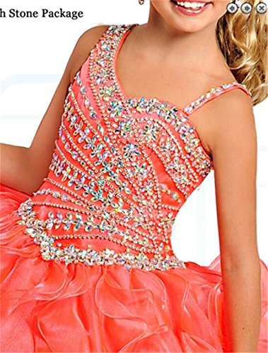 Sanling Pageant Dresses Puffy Prom Party Dress For Little Kids Gown2017 - Orange -: Amazon.co.uk: Clothing