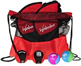 Waboba Catch Glove w/ Pro Ball _ Frustration Free Packaging _ Bundle of 2 Sets _Bonus 2 Wave Skipper Balls _ Bonus Red/Black Drawstring Backpack _ Bundled Items
