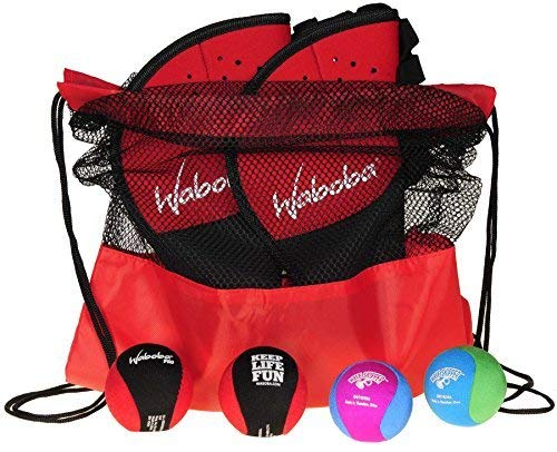 Waboba Catch Glove w/ Pro Ball _ Frustration Free Packaging _ Bundle of 2 Sets _Bonus 2 Wave Skipper Balls _ Bonus Red/Black Drawstring Backpack _ Bundled Items by Deluxe Games and Puzzles