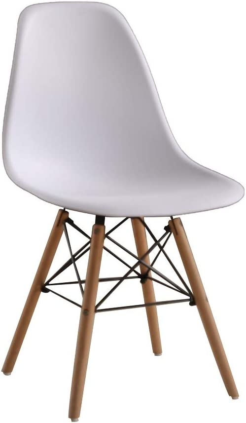 ZMALL 4PCS Chic Modern Plastic Dining Chairs Side Chairs Lounge Home Office Dining Room Living Room Furniture Kitchen Cafe with Solid Wooden Legs White