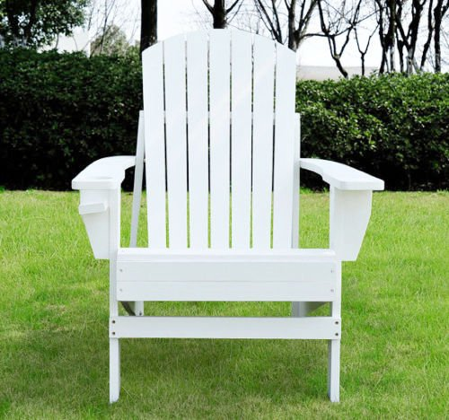 Trendy Outdoor Durable Wood Construction Patio Adirondack Chair Lounge With Cup Holder Great For Your Home Patio Backyard Pool Area (Tables For Sale Tampa Pool)