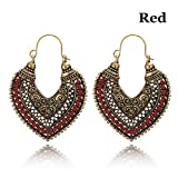 1 Pair Ethnic Heart Shaped Dangle Earrings Vintage Carving Hollow Gypsy Drop Earring Women Girls Jewelry Gifts Red