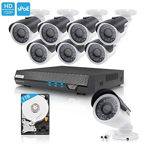 Price comparison product image TECBOX 8 Channel 720P AHD Home Security Camera System DVR Recorder with 1TB Hard Drive 8 HD 1.3MP Waterproof Night vision Indoor / Outdoor CCTV surveillance Camera