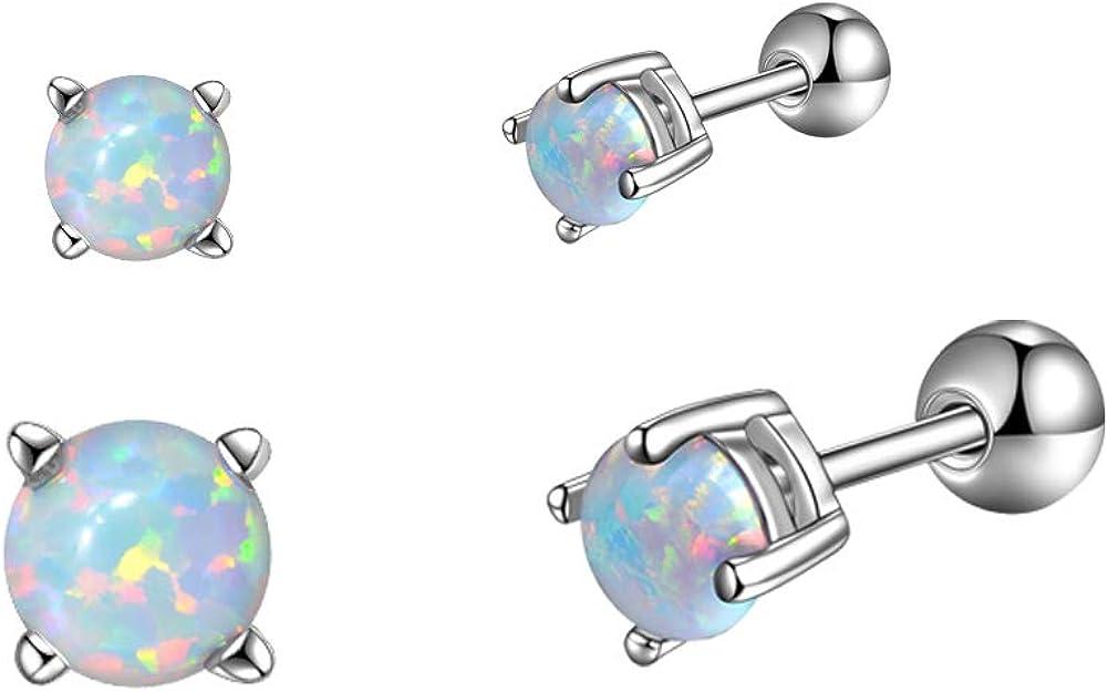 White Opal Cartilage Stud Earrings Set 316L Stainless Steel Tiny for Women Men 3mm/4mm/5mm/6mm Pack