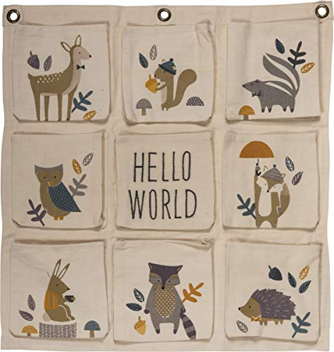 Primitives by Kathy Themed Nursery Non-Toxic Painted Wood Hanging Canvas Storage Bag, 22″ x 22″, Woodland – Hello World