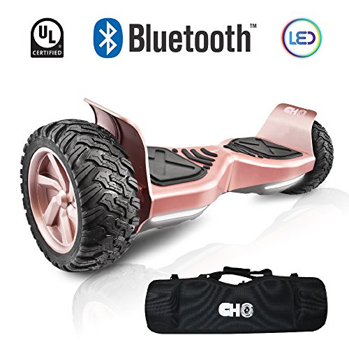 CHO New Generation All Terrain Hoverboard Off-Road Smart Self-Balancing Dual Motors Electric Scooter With Built-In Bluetooth Speaker LED Lights UL2272 Certified (PINK) (All Terrain Board)