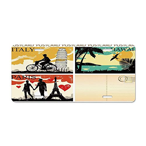 Wonderhorsegala Retro,Postcards from Italy Hawaii Paris Exotic Places in The World Nostalgic Times Print,Multicolor Custom Car Aluminum Metal License Plate Frame Cover 12 x 6 ()