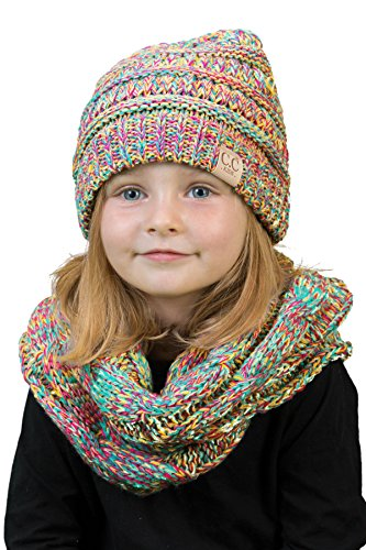 Winter Accessories Set - K1-3847-816.41 Kids Scarf & NO Pom Beanie Matching Bundle Set - Rainbow 4#11