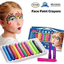 MiniKIKI Face Paint Crayons, Face Painting Kits, 12 Cols, Body Paint, Kids Face Painting, Washable Face Paint, Kids Makeup, Non Toxic Body Painting, Ideal for Christmas, Costumes, Birthday Parties