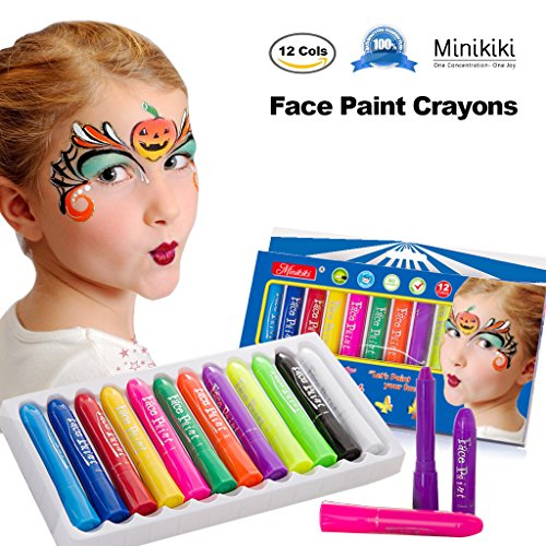MiniKIKI Face Paint Crayons, Face Painting Kits, 12 Cols, Body Paint, Kids Face Painting, Washable Face Paint, Kids Makeup, Non Toxic Body Painting, Ideal for Halloween, Costumes, Birthday (Halloween Face Painting Kit)